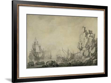 Ships and Militia by a Rocky Shore, C.1680 (Pen and Ink on Prepared Canvas)-Willem Van De Velde the Elder-Framed Art Print