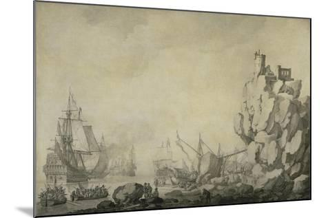 Ships and Militia by a Rocky Shore, C.1680 (Pen and Ink on Prepared Canvas)-Willem Van De Velde the Elder-Mounted Giclee Print