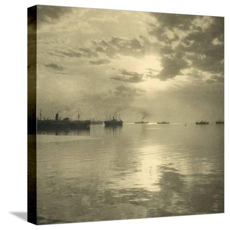 The First Troopships Carrying Australian and New Zealand Soldiers-William Fell-Stretched Canvas Print