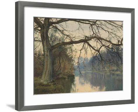 A Great Tree on a Riverbank, 1892 (Pencil, Pen and Black Ink and W/C on Paper)-William Fraser Garden-Framed Art Print