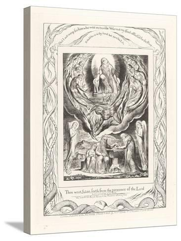 Then Went Satan Forth from the Presence of the Lord, 1825-William Blake-Stretched Canvas Print
