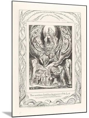 Then Went Satan Forth from the Presence of the Lord, 1825-William Blake-Mounted Giclee Print