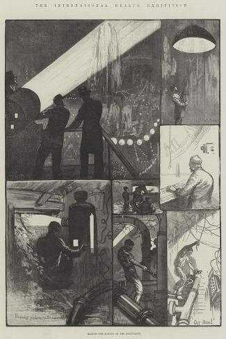 The International Health Exhibition, Behind the Scenes at the Fountains-William Bazett Murray-Stretched Canvas Print