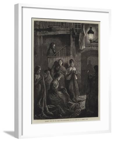 London Life at the East End, Sack-Making by the Light of a Street Lamp-William Bazett Murray-Framed Art Print