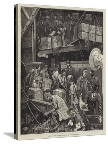 Breaking Bulk on Board a Tea Ship in the London Docks-William Bazett Murray-Stretched Canvas Print