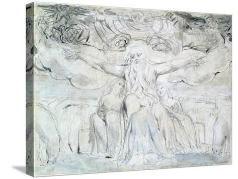 Job and His Daughters-William Blake-Stretched Canvas Print