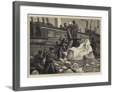 The Arctic Expedition, Watering from an Iceberg-William Bazett Murray-Framed Art Print