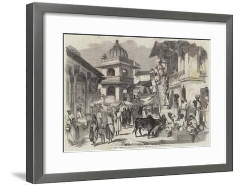 The Bazaar, Oodipoor, Rajpootana-William Carpenter-Framed Art Print
