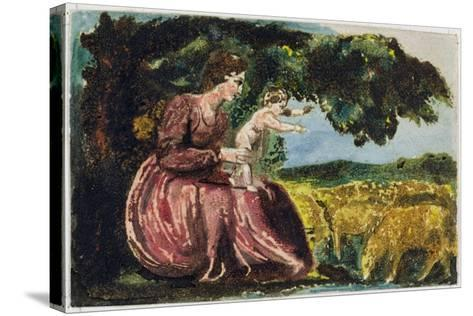 Spring, from 'Songs of Innocence', 1789 (Coloure-Printed Relief Etching with W/C on Paper)-William Blake-Stretched Canvas Print