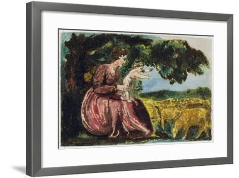 Spring, from 'Songs of Innocence', 1789 (Coloure-Printed Relief Etching with W/C on Paper)-William Blake-Framed Art Print