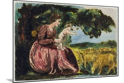 Spring, from 'Songs of Innocence', 1789 (Coloure-Printed Relief Etching with W/C on Paper)-William Blake-Mounted Giclee Print