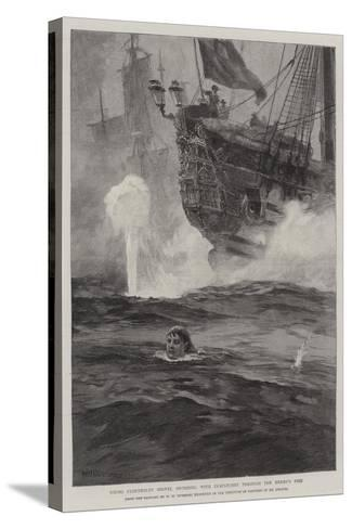 Young Cloudesley Shovell Swimming with Despatches Through the Enemy's Fire-William Heysham Overend-Stretched Canvas Print