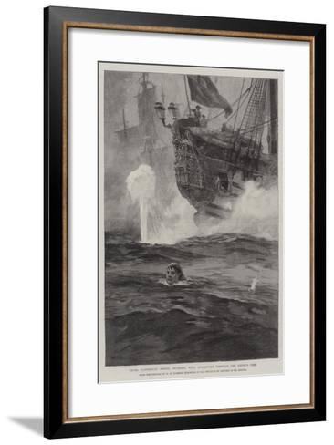 Young Cloudesley Shovell Swimming with Despatches Through the Enemy's Fire-William Heysham Overend-Framed Art Print