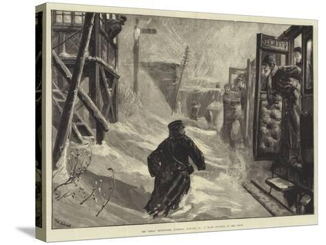 The Great Snowstorm, Tuesday, 18 January, a Train Blocked in the Snow-William Heysham Overend-Stretched Canvas Print