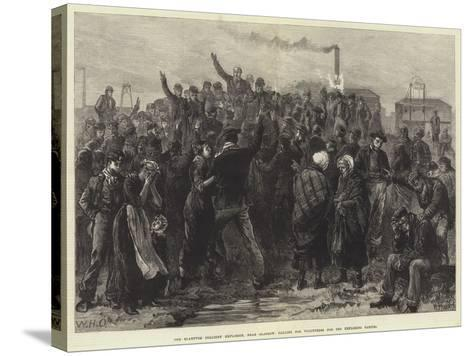 The Blantyre Colliery Explosion, Near Glasgow, Calling for Volunteers for the Exploring Parties-William Heysham Overend-Stretched Canvas Print