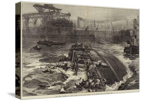 The Great Disaster at a Ship Launch on the Clyde, Sinking of the Daphne, with Two Hundred Men-William Heysham Overend-Stretched Canvas Print