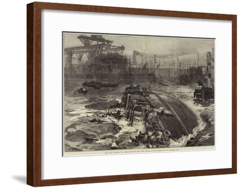 The Great Disaster at a Ship Launch on the Clyde, Sinking of the Daphne, with Two Hundred Men-William Heysham Overend-Framed Art Print
