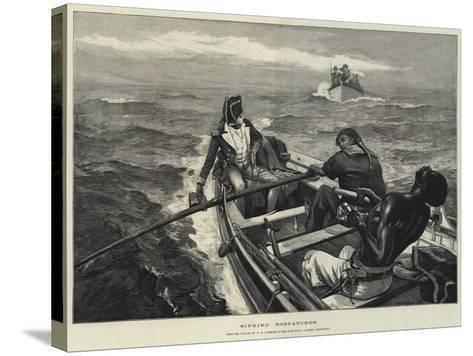 Sinking Despatches-William Heysham Overend-Stretched Canvas Print