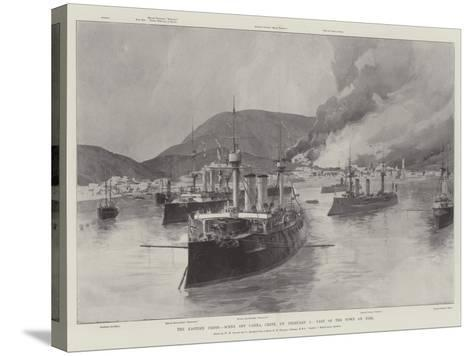 The Eastern Crisis, Scene Off Canea, Crete, on 5 February, Part of the Town on Fire-William Heysham Overend-Stretched Canvas Print