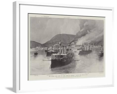 The Eastern Crisis, Scene Off Canea, Crete, on 5 February, Part of the Town on Fire-William Heysham Overend-Framed Art Print