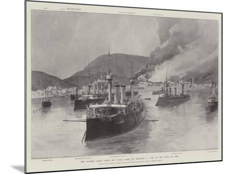 The Eastern Crisis, Scene Off Canea, Crete, on 5 February, Part of the Town on Fire-William Heysham Overend-Mounted Giclee Print