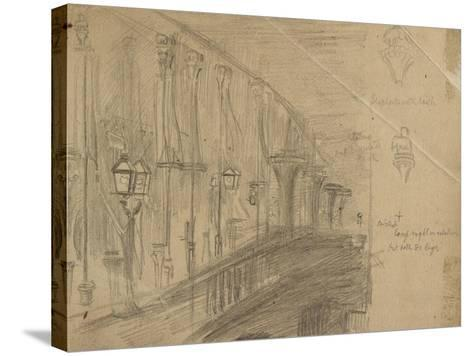 Recto: Study of London Bridge for 'London Bridge on the Night of the Marriage of the Prince and Pri-William Holman Hunt-Stretched Canvas Print
