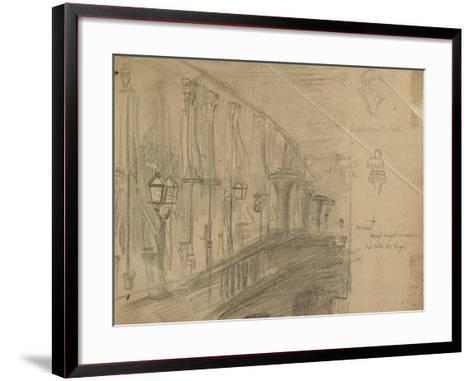 Recto: Study of London Bridge for 'London Bridge on the Night of the Marriage of the Prince and Pri-William Holman Hunt-Framed Art Print
