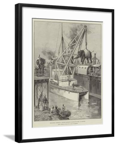 The Looshai Expedition, Shipping Elephants on Board the Simla at Calcutta-William Heysham Overend-Framed Art Print