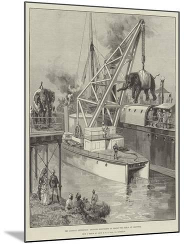 The Looshai Expedition, Shipping Elephants on Board the Simla at Calcutta-William Heysham Overend-Mounted Giclee Print