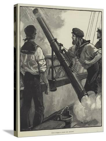 Firing Rockets on Board HMS Monarch-William Heysham Overend-Stretched Canvas Print