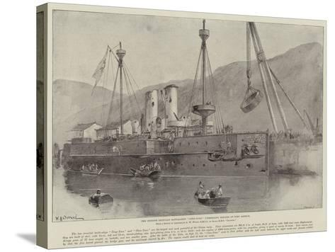 The Chinese Ironclad Battle-Ship Chen-Yuen Undergoing Repairs at Port Arthur-William Heysham Overend-Stretched Canvas Print