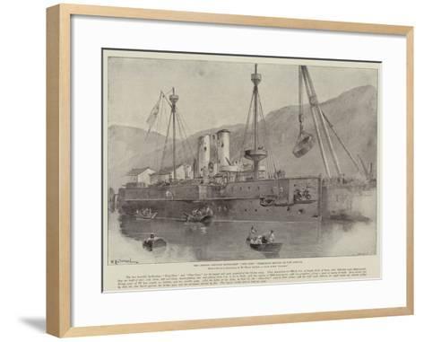 The Chinese Ironclad Battle-Ship Chen-Yuen Undergoing Repairs at Port Arthur-William Heysham Overend-Framed Art Print