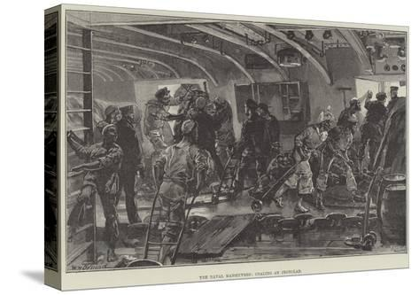 The Naval Manoeuvres, Coaling an Ironclad-William Heysham Overend-Stretched Canvas Print