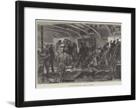 The Naval Manoeuvres, Coaling an Ironclad-William Heysham Overend-Framed Art Print