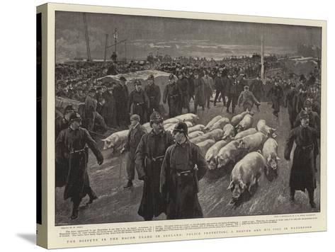 The Dispute in the Bacon Trade in Ireland, Police Protecting a Drover and His Pigs in Waterford-William Small-Stretched Canvas Print
