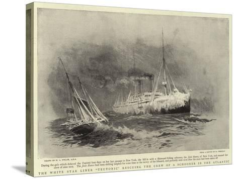 The White Star Liner Teutonic Rescuing the Crew of a Schooner in the Atlantic-William Lionel Wyllie-Stretched Canvas Print