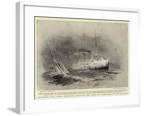 The White Star Liner Teutonic Rescuing the Crew of a Schooner in the Atlantic-William Lionel Wyllie-Framed Art Print