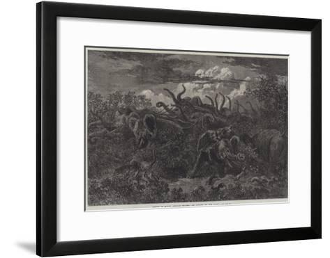Scenes of South African Travel, an Attack in the Night-William James Linton-Framed Art Print
