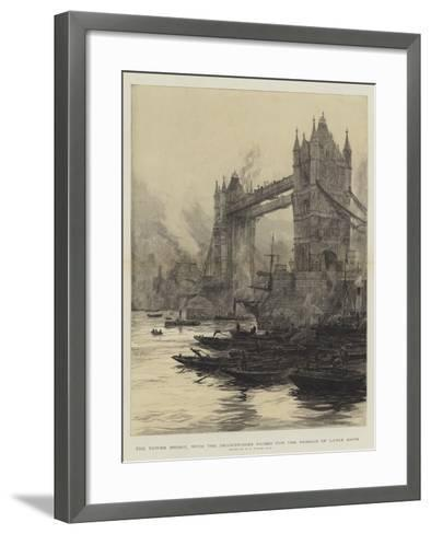 The Tower Bridge, with the Drawbridges Raised for the Passage of Large Ships-William Lionel Wyllie-Framed Art Print