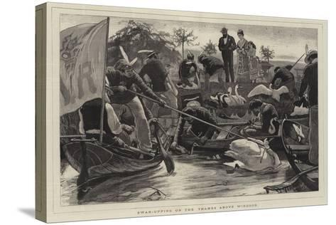 Swan-Upping on the Thames Above Windsor-William Small-Stretched Canvas Print