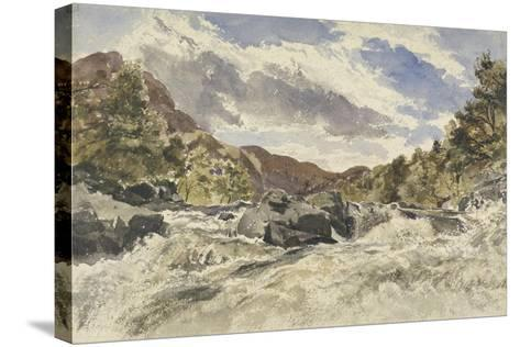 A Mountain Torrent-William James Muller-Stretched Canvas Print