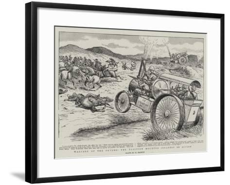 Warfare of the Future, the Traction Mounted Infantry in Action-William Ralston-Framed Art Print