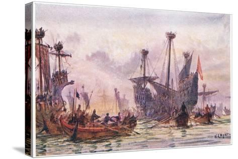 Richard I in Action with the Saracen Ship, 1915-William Lionel Wyllie-Stretched Canvas Print