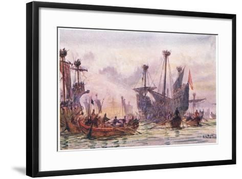 Richard I in Action with the Saracen Ship, 1915-William Lionel Wyllie-Framed Art Print