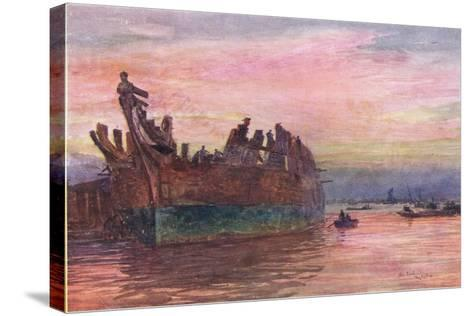 The End of an Old Warship, 1915-William Lionel Wyllie-Stretched Canvas Print