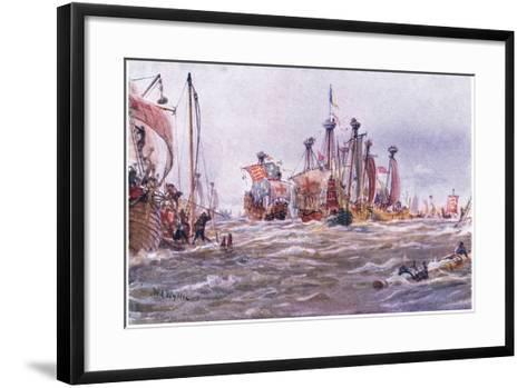 Battle of Sluys 1340 Ad, 1915-William Lionel Wyllie-Framed Art Print