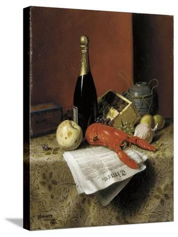Still Life with Lobster, Fruit, Champagne and Newspaper, 1882-William Michael Harnett-Stretched Canvas Print