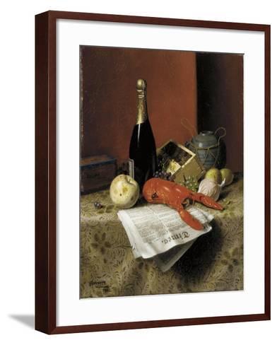 Still Life with Lobster, Fruit, Champagne and Newspaper, 1882-William Michael Harnett-Framed Art Print