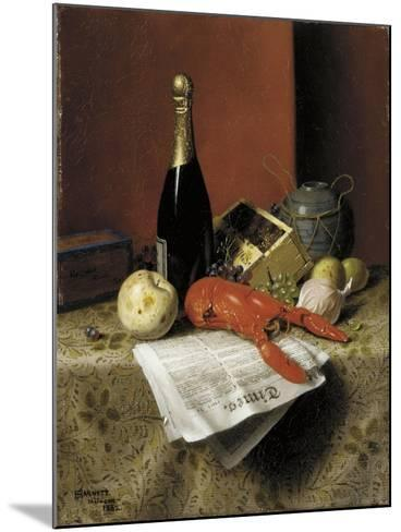 Still Life with Lobster, Fruit, Champagne and Newspaper, 1882-William Michael Harnett-Mounted Giclee Print