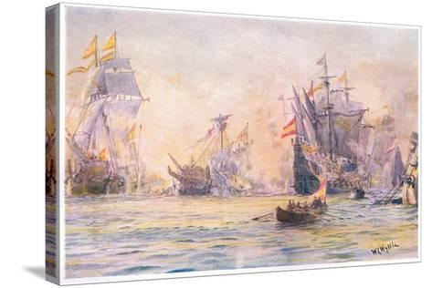 The End of the 'Gentleman Adventurer-The Revenge Captured by Spaniards 1591, 1915-William Lionel Wyllie-Stretched Canvas Print